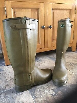 Le Chameau 'Chasseur' Mens Leather Lined Wellington Boots Size Uk 11 Full Zip