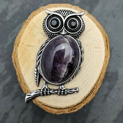 Antique Silver Tone Owl Amethyst Pendant Necklace Or Brooch