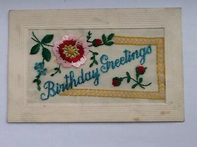embroidered Silk Greetings Postcards