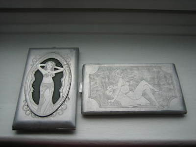 Pair Of Trench Art Cigarette Cases Featuring Belly-Dancer