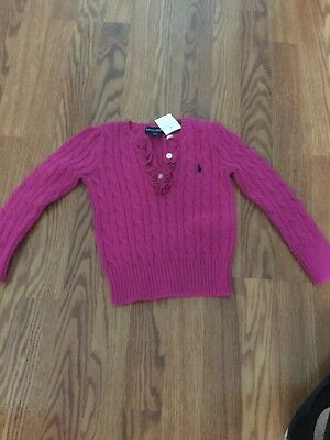 Ralph Lauren Girls Cable Knit Sweater  Button pink Color Size 4/4T