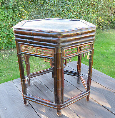 Vintage/Antique Chinese Hexagonal Bamboo Side Table