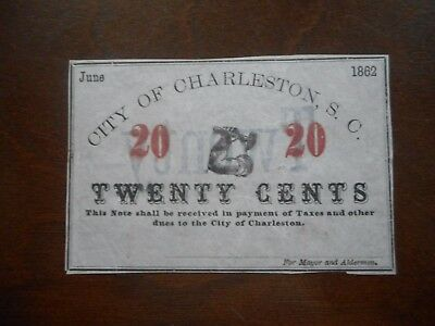 1862 20c The City of Charleston, SOUTH CAROLINA Note - CIVIL WAR Era