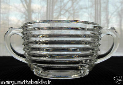 Anchor Hocking Glass Clear Manhattan Flat Open Sugar Bowl