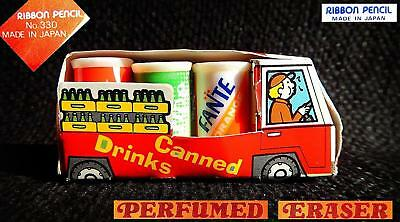 RIBBON Japan Vintage 1980 mini gommine lattine bus can ERASER Fanta Sprite Cola