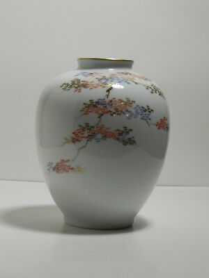 Fukagawa porcelain vase with maple leaves branches marked on base