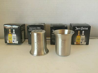 3 Jose Cuervo Tequila Stainless Steel Shot Glasses New In Box