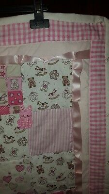 Handmade Patchwork Baby Quilt - Pink and White Nursery Cot Pram Play Mat