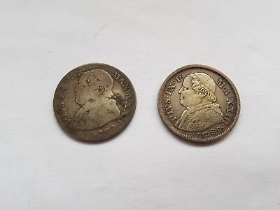 Papal States ten soldini coins.