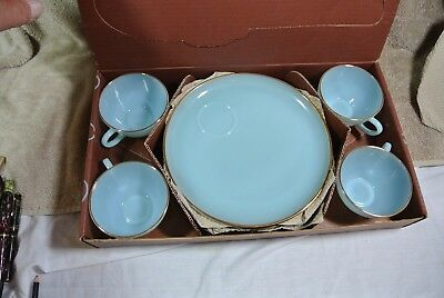 Nos Hostess Delight 8 Piece Snack Set - Turquoise Blue -Fire King