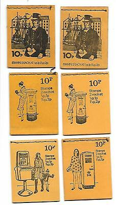 6 Assorted 10p Booklets Issued 1972, 1973, 1974 & 1975 All Stamps Included.