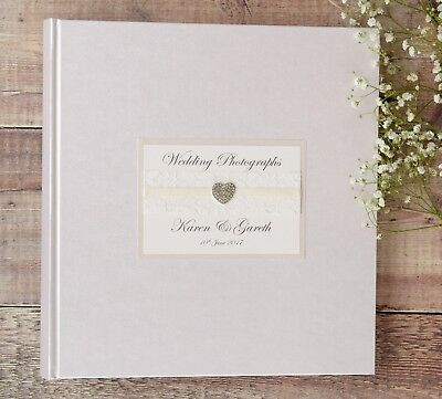 Large Personalised Wedding Photograph Album. 50 pages /100 sides. Diamante Heart