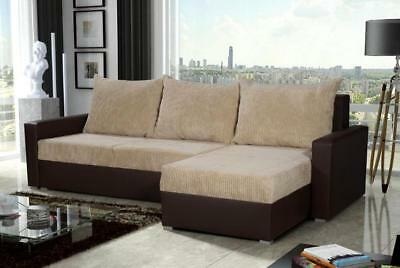 Brand New Corner Sofa Bed Cream/brown With Storage-Wersalka