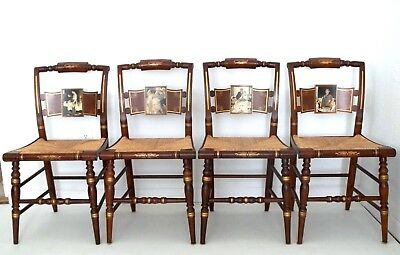 Hitchcock / Norman Rockwell (Dining) Chairs, S/4, Four Freedoms, COA's