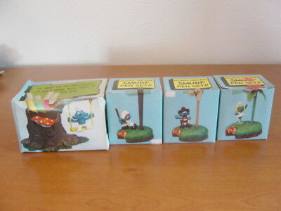 1980/82 Smurf Pen & Pencil sets (x4) In Original boxes. Wallace Berrie Co.