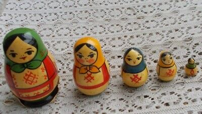 "Vintage Russian Wooden Nesting Dolls SET Matryoshka Girl Lady 3"" USSR Deco LOOK"
