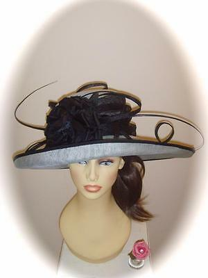 Mother of Bride Ascot Occasion Wedding Condici 9181 Hat, Blue Frost