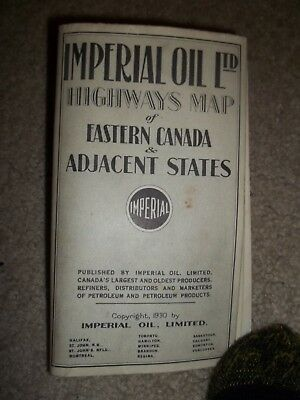 1930 Imperial Oil LTD Map of the Eastern Canada and Adjacent States
