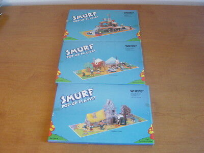 1983 Smurf Pop-up Playsets. Complete set of 3. MIB. Wallace Berrie Co.