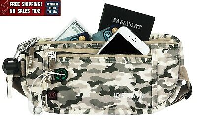 Waist Pack Belt RFID Blocking Travel Passport Holder Organizer Safe Camo New
