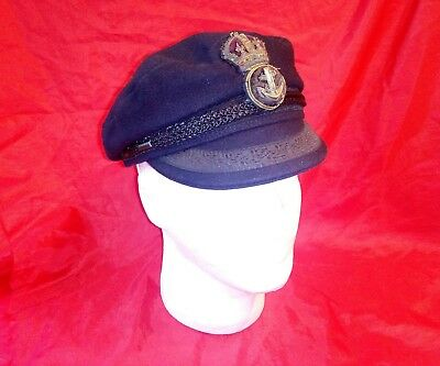 Vintage Royal Navy imper Camaret Sailing Hat Breton cap with badge 57cm