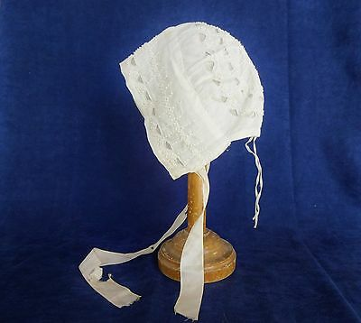 Antique French Early 19th-Century Lace Baby Bonnet