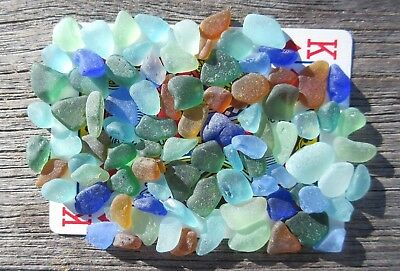 """Sea Glass. 87 mini pcs. Lots of colors. """"For crafts"""". Surf-frosted."""