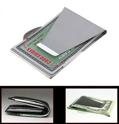 Silver Slim Stainless Steel Double Sided Money Clip Wallet Credit Card ID Holder