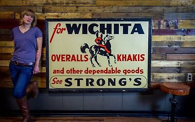 RARE EARLY Wichita OVERALLS TIN SIGN NOS 1930's Wood Frame Indian Horse Logo