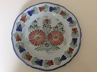 HENRIOT QUIMPER 10in DECORATIVE FAIENCE PLATE - Superb Condition