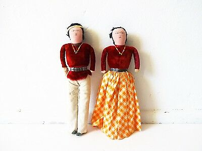 Vintage 1930s Navaho Folk Art Cloth Dolls in Red Velvet and Yellow Gingham Check