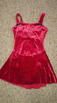 mondor ice skating dress deep red with black bead swirl pattern approx age 7-8