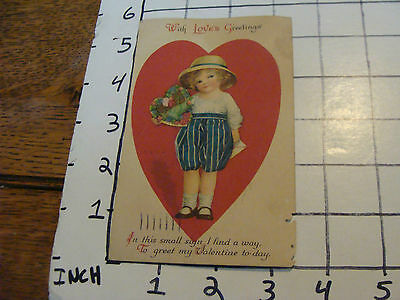 vintage valentine post card, 1924, light wear, WITH LOVE'S GREETINGS