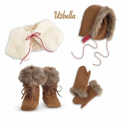 American Girl Kaya's Winter Accessories Fur Boots Cape Gloves Mittens NEW