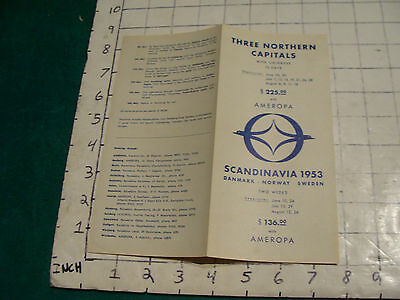 GREAT VINTAGE 1950's  brochure: THREE NORTHERN CAPITALS with Ameropa