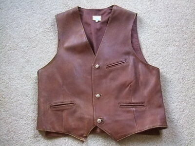 "retro vintage brown leather waistcoat mod scooter dapper gentleman 42"" chest L"