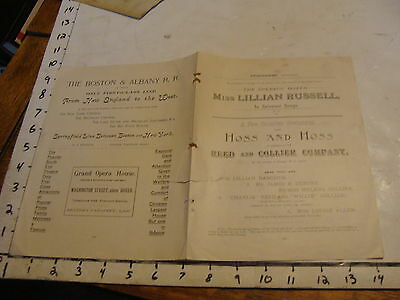 """Vintage Program section of LILLIAN RUSSELL """" IN SELECTED SONGS"""""""