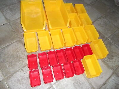 26 Mixed Plastic Storage Bins In Excellent Lightly Used Condition