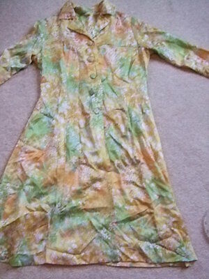 vintage 60s 70s yellow green floral shirt dress 10 12 nice buttons mod gogo