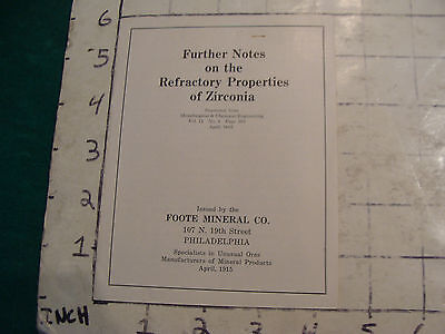Vintage Mineral brochure: Further Notes on the Refractory Porp of ZIRCONIA 1915