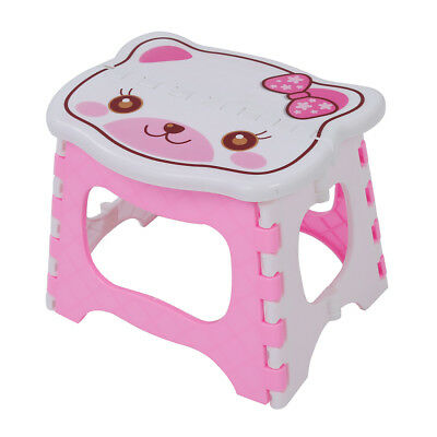 Cute Cartoon Cat Easy Foldable Children Step Very Firm Stool-Pink PK C7L8