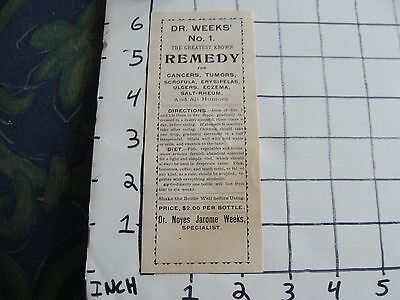 Orig Vintage label:  DR. WEEKS' no 1 REMEDY dr. noyes jarome weeks