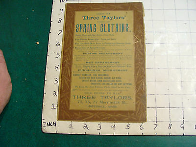 vintage paper: THREE TAYLORS' spring clothing out of Haverhill Mass ad paper
