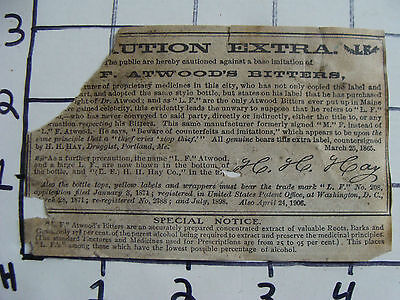 Orig Medicine label: EARLY F. Atwood's Bitters SOLUTION EXTRA