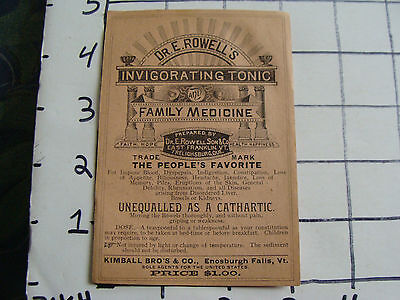 Original Med label: EARLY-Dr. E ROWELLs iNVIGORATING TONIC, Enosburgh falls VT