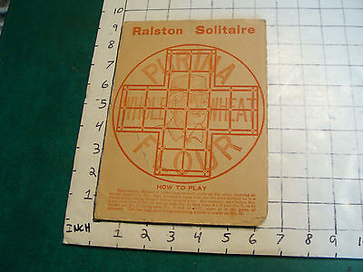 Vintage paper item: double sided EARLY Ralston game board SOLITAIRE & CHECKERS