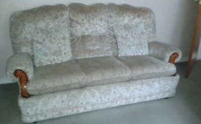 Three piece suite 3 seater and two armchairs and scatter cushions