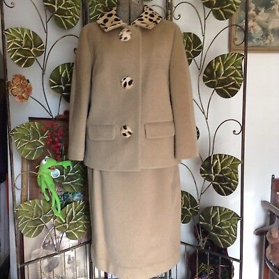 Vintage 60s Betsy Bates Tan Lined Wool Skirt Suit Fur Collar & Buttons