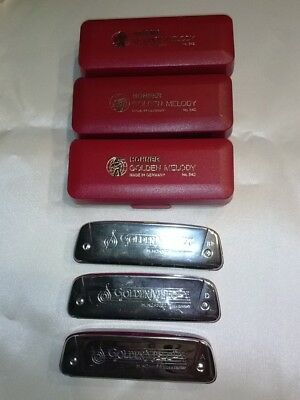 Lot of 3 USED Harmonicas, Hohner,Golden Melody No 542, Key A D Bb ,Classic Harp!