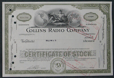 Collins Radio Company 1967 90 Shares .